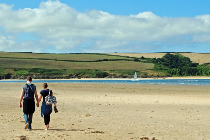 Friends walking to Padstow