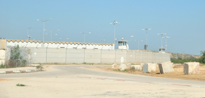 The wall separating Gaza and Israel at the Erez crossing from the Israeli side.